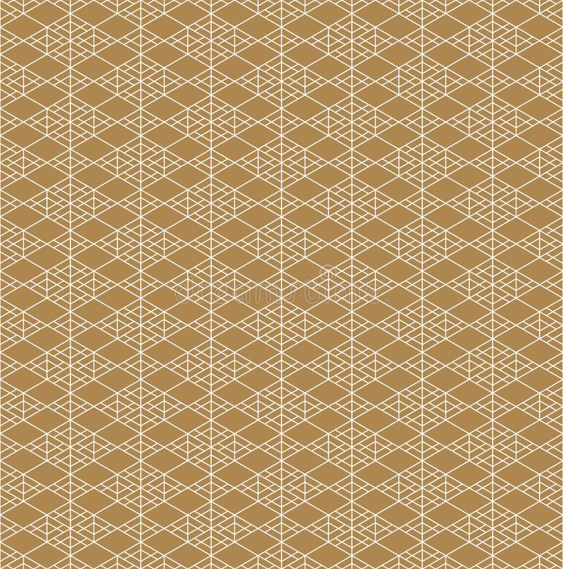 Seamless traditional Japanese ornament.Golden color background.White lines royalty free illustration