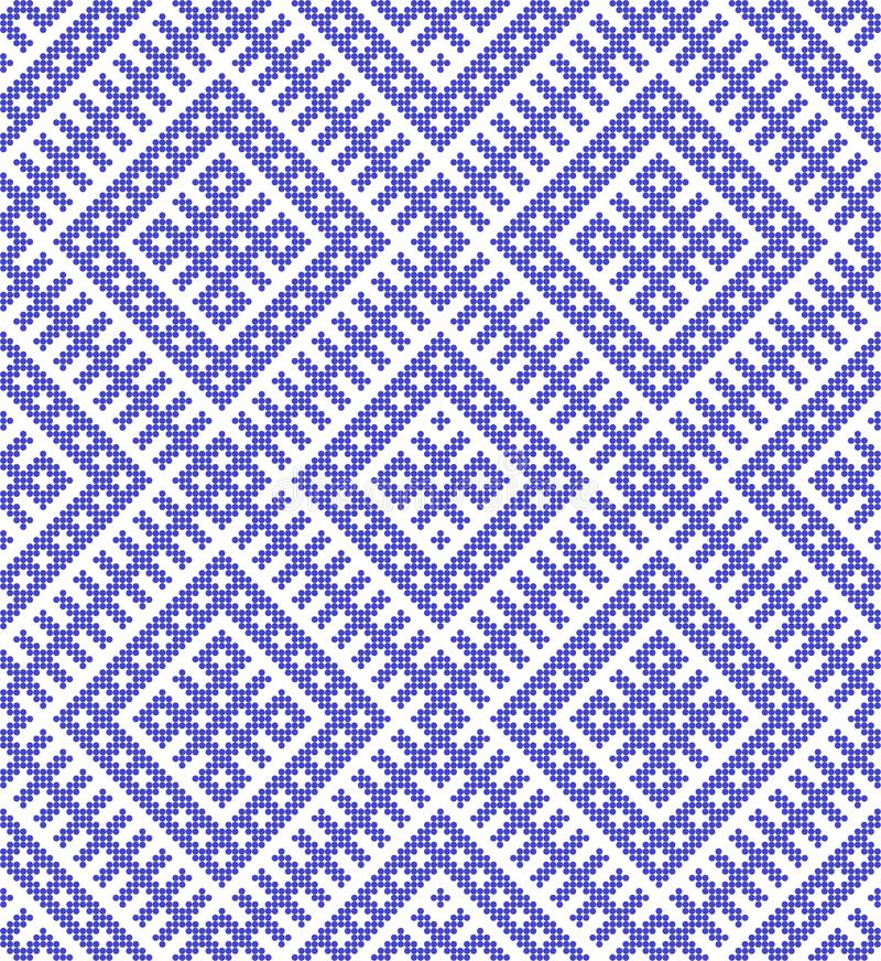 Seamless Traditional Russian and ornament made by circles in blue. royalty free illustration