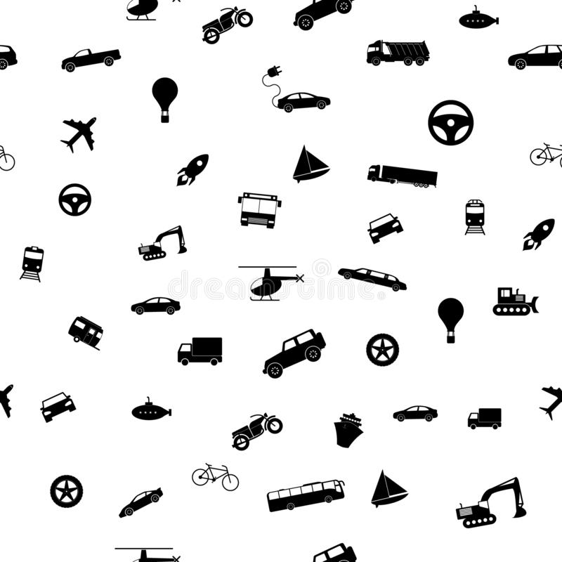 Seamless transport pattern. Vector illustration Icons in flat style. royalty free illustration
