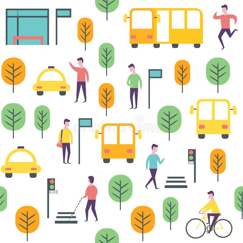 Seamless transport pattern. Vector people and vechicles royalty free illustration