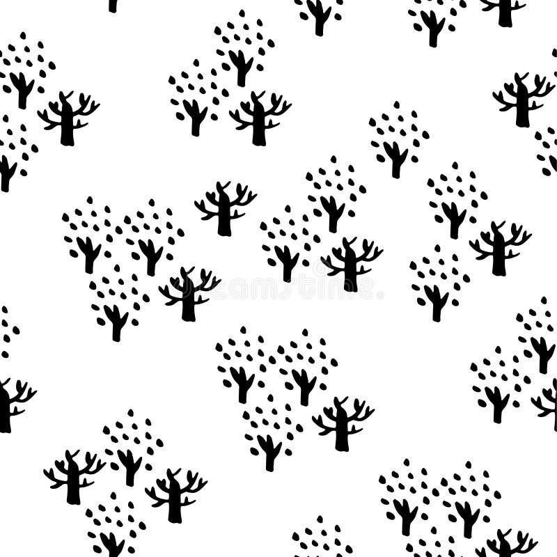 seamless tree för modell Räcka utdragen bakgrund för design- och garneringtextilen, räkningar, packen, inpackningspapper royaltyfri illustrationer