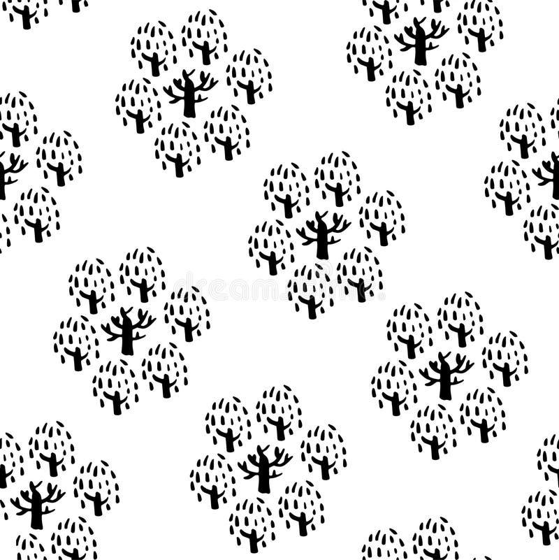 seamless tree för modell Räcka utdragen bakgrund för design- och garneringtextilen, räkningar, packen, inpackningspapper stock illustrationer