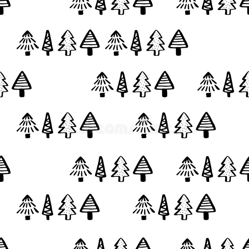 seamless tree för modell Räcka utdragen bakgrund för design- och garneringtextilen, räkningar, packen, inpackningspapper vektor illustrationer