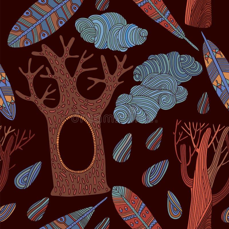 seamless trees för modell stock illustrationer