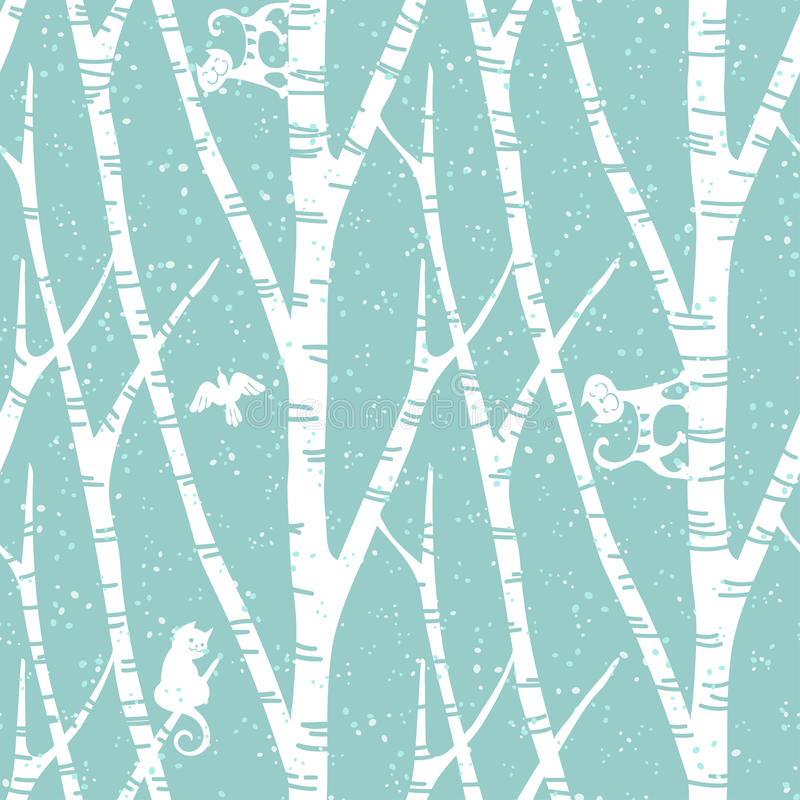 Seamless trendy pattern with abstract birch trees, cats and birds. Floral vintage wallpaper. Fanny vector illustration vector illustration