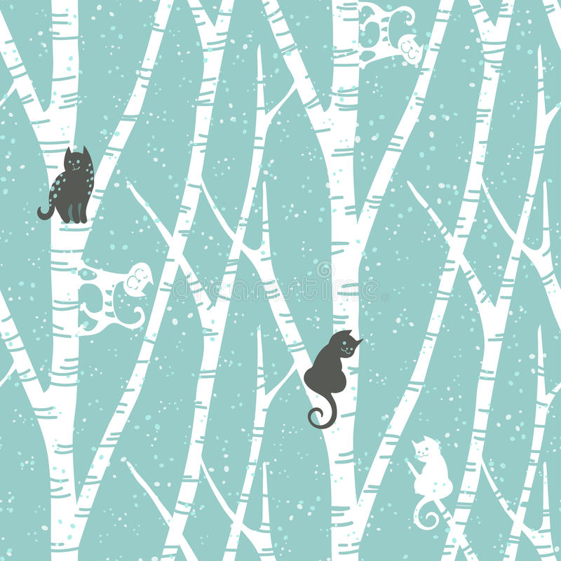 Download Seamless Trendy Pattern With Abstract Birch Trees Cats And Snow Floral Winter Vintage