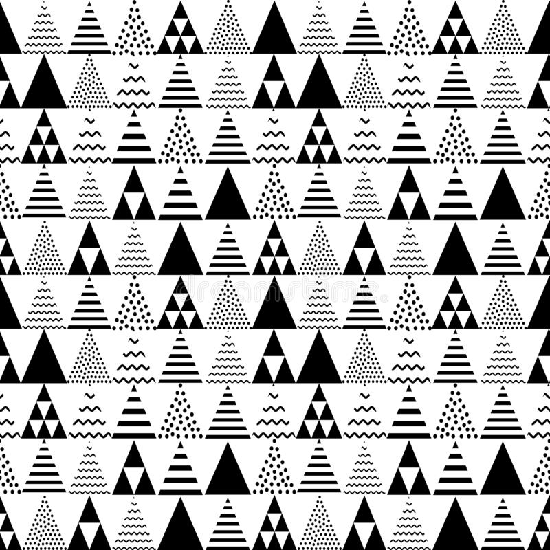 Seamless triangles pattern. Pyramid tile texture. Abstract geometric repeat.  royalty free illustration