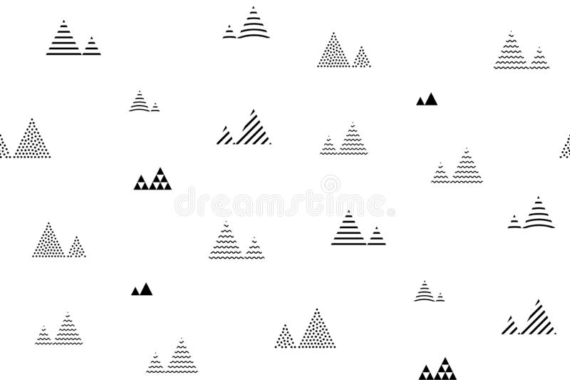 Seamless triangles pattern. Pyramid tile texture. Abstract geometric repeat.  stock illustration