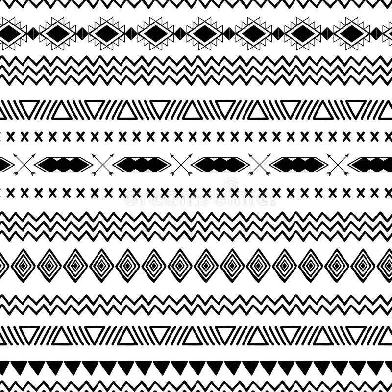 Seamless tribal ethnic pattern Aztec abstract background Mexican ornamental texture in black white color vector vector illustration