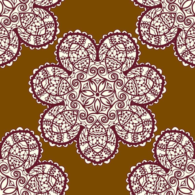 Seamless tribal pattern, delicate mandala floral vector illustration