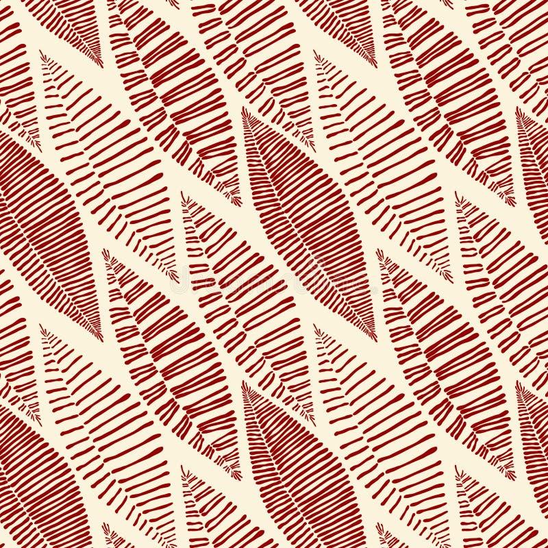 Seamless Tribal Pattern Leaves Skeleton stock illustration