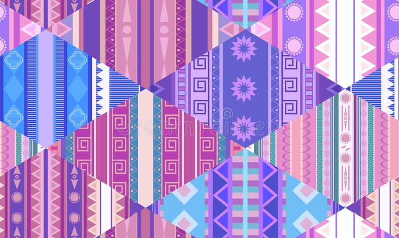 Seamless tribal pattern with native patterns. Patchwork blanket. Vector texture vector illustration