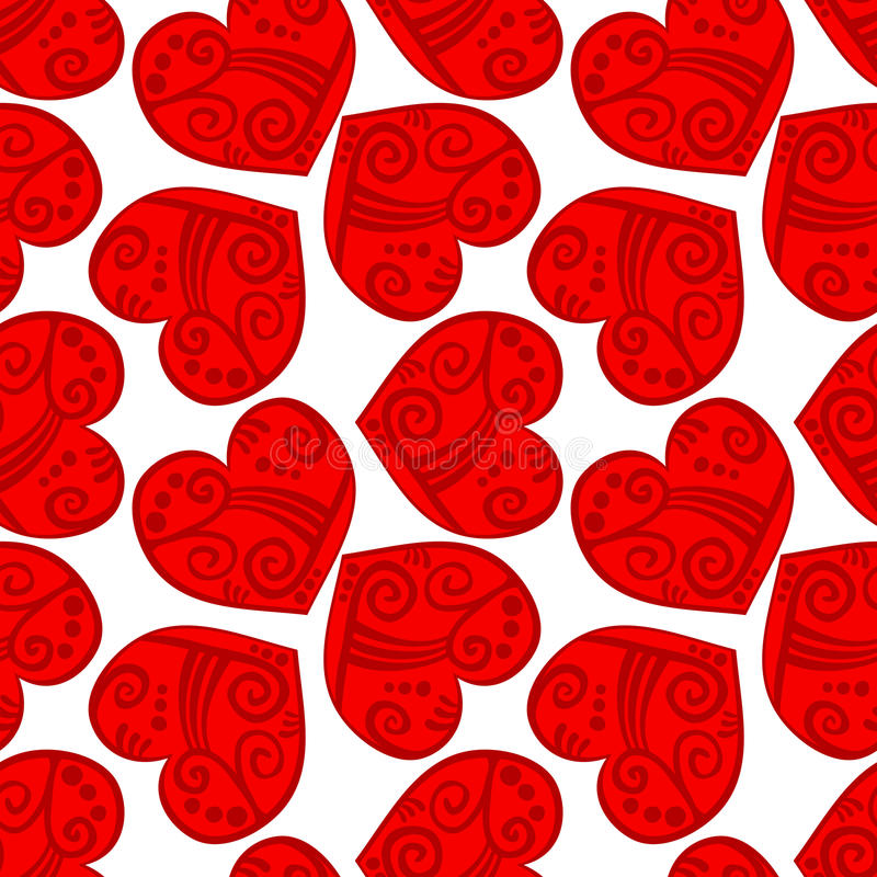 Free Seamless Tribal Red Hearts Background Stock Image - 36558501