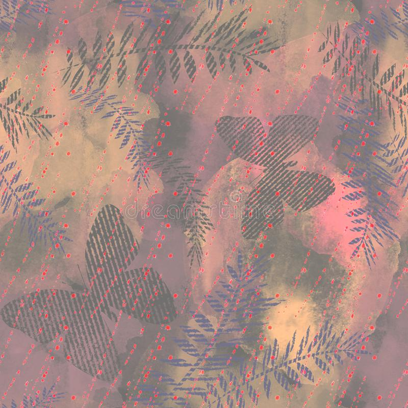 Seamless Tropical abstract pattern. Butterflies, palm leaves on a gray, pink background. vector illustration