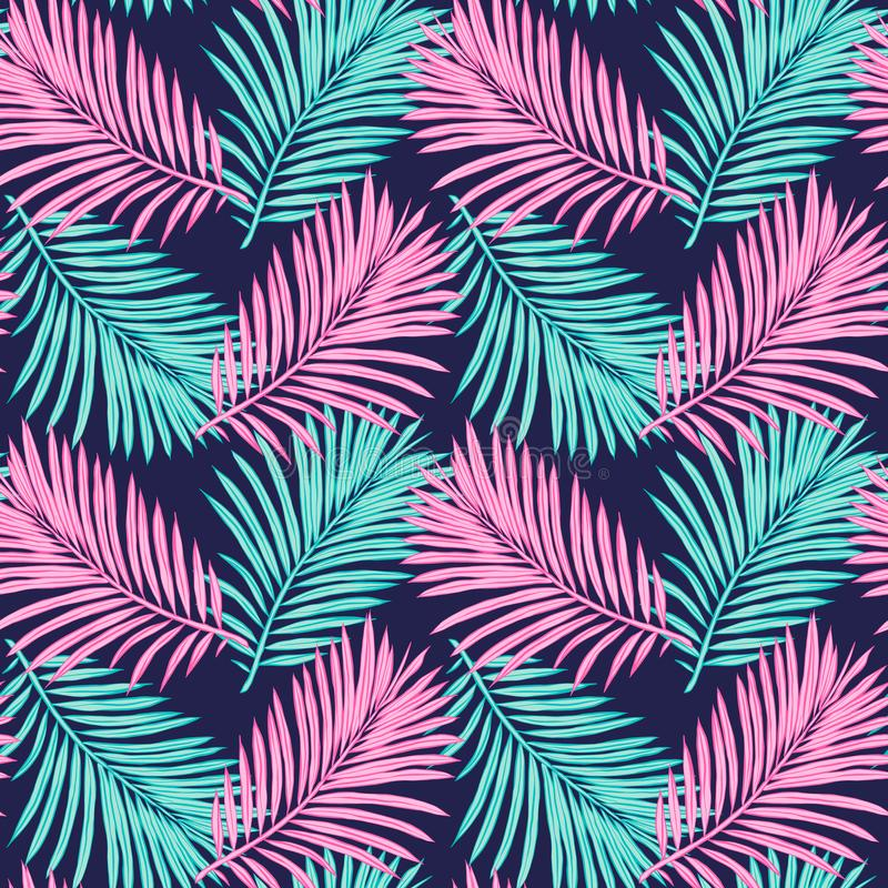 Seamless tropical background. Hand-drawn illustration of palm leaves. Background to create your design: packaging, invitations, gr royalty free illustration
