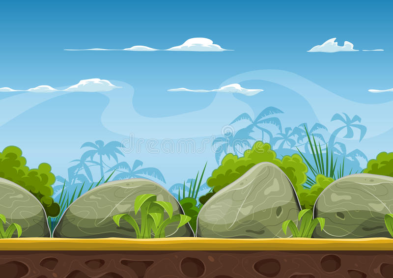Seamless Tropical Beach Landscape For Ui Game. Illustration of a cartoon seamless summer tropical beach ocean background with palm trees, coconuts, boulders vector illustration