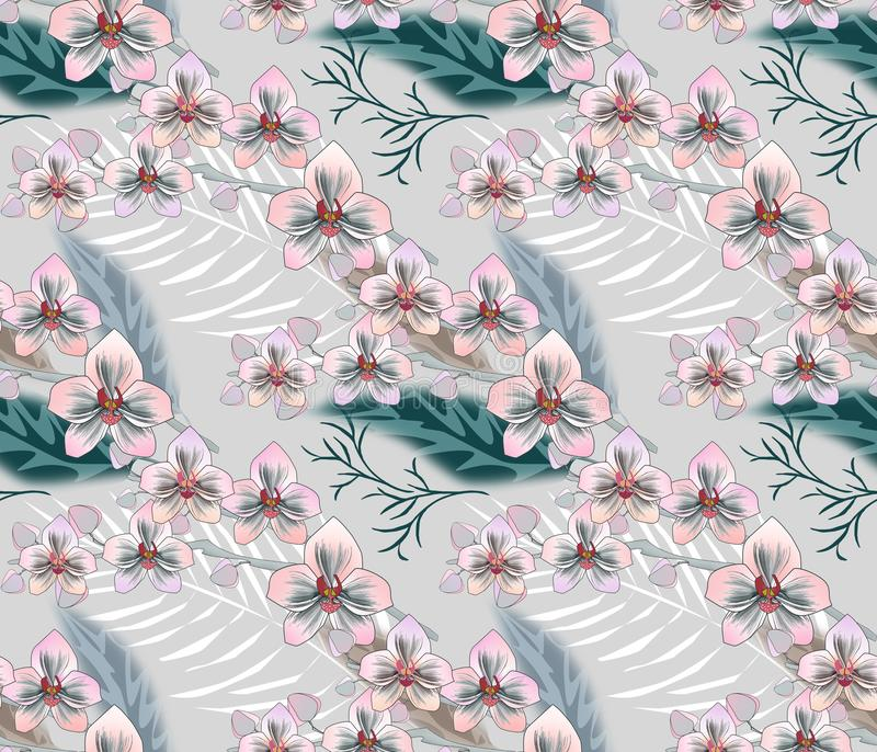 Seamless tropical floral pattern.Pink, white orchids, palm leaves on a gray background. stock illustration