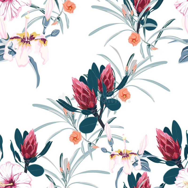 Vector seamless tropical pattern, vivid tropic foliage, with palm leaves, tropical red hibiscus flower in bloom. Seamless tropical flower pattern background stock illustration