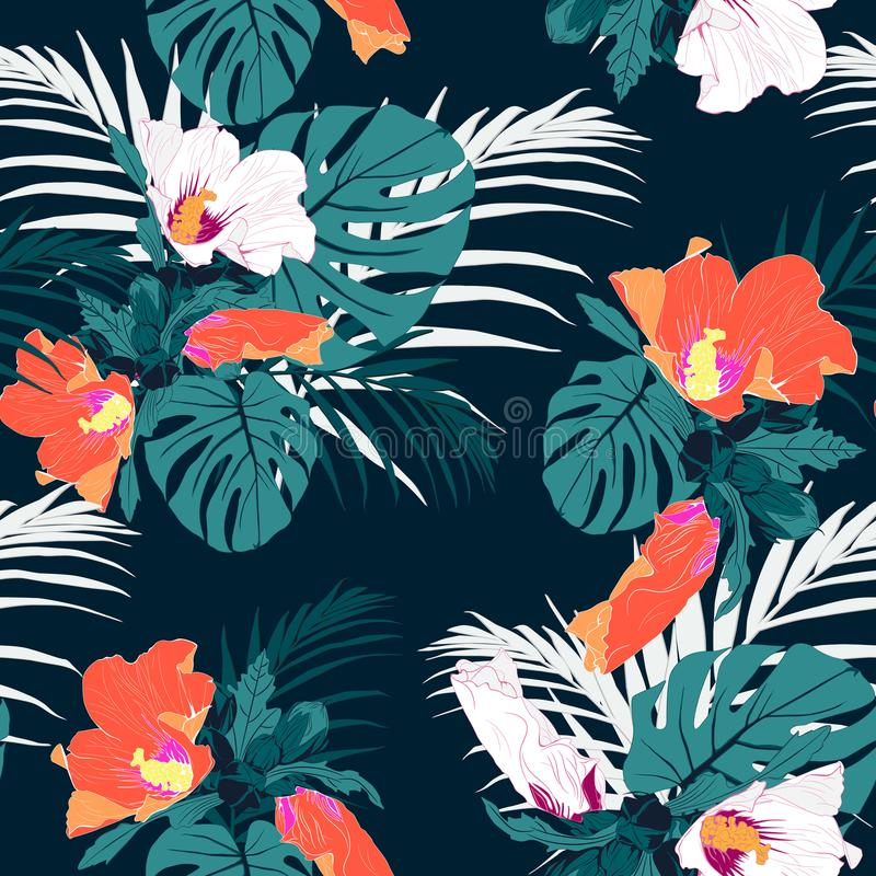 Seamless tropical flower pattern background. Tropical protea flowers, jungle leaves, on light background. Vector seamless tropical pattern, vivid tropic foliage stock illustration