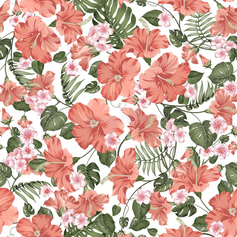 Seamless tropical flower. Tropical plumeria, hibiskus and palm leaves. Fabric swatch with paradise flowers isolated over royalty free illustration