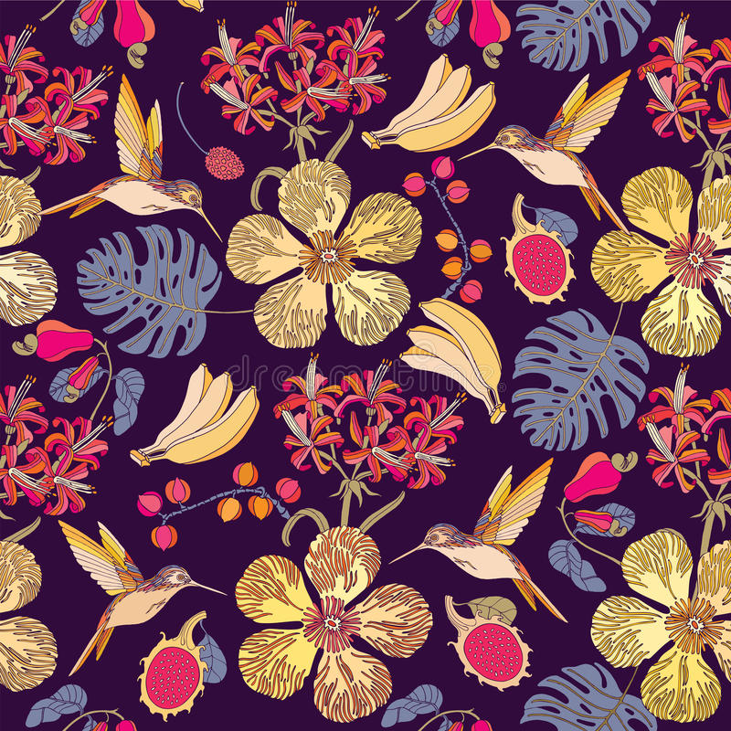 Seamless tropical flowers with bananas. royalty free illustration