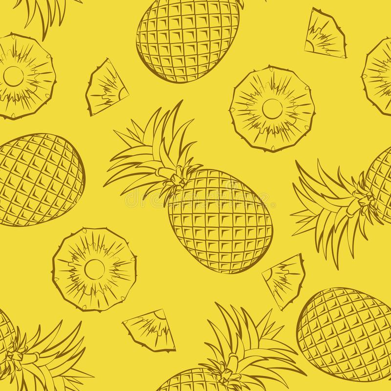Seamless tropical fruit pattern. Pineapples whole and sliced on a yellow background vector illustration