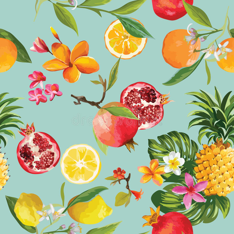 Free Seamless Tropical Fruits Pattern. Pomegranate, Lemon, Orange Stock Photos - 96188903