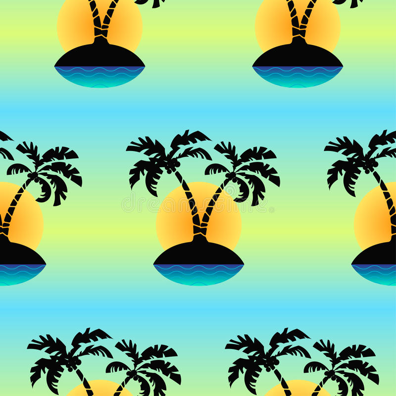 Seamless tropical island an palm`s vector pattern. Seamless tropical island an palm`s vector pattern stock illustration