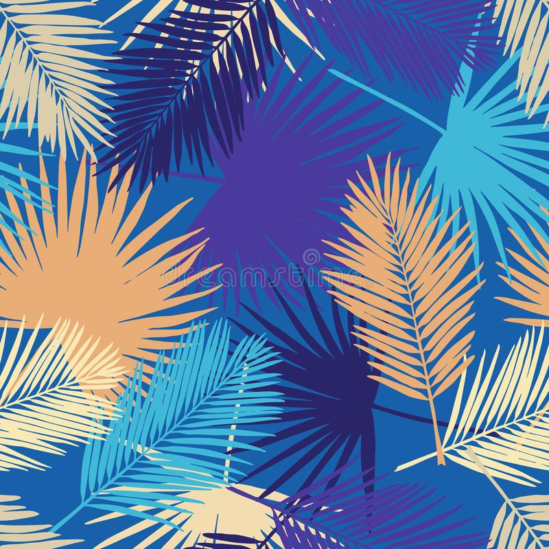 Seamless tropical palm leaves pattern royalty free illustration