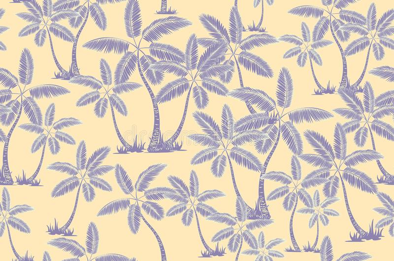 Seamless tropical palms pattern. Summer endless hand drawn vector background of palm trees can be used for wallpaper, wrapping vector illustration