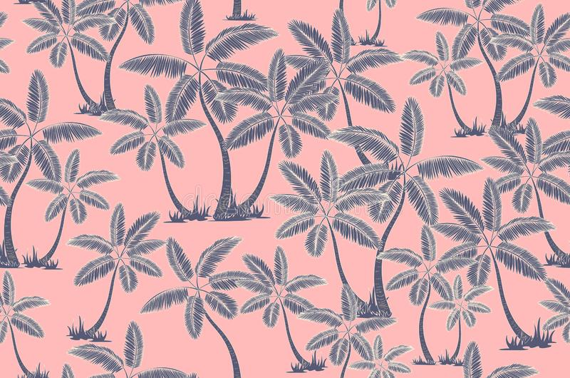 Seamless tropical palms pattern. Summer endless hand drawn vector background of palm trees can be used for wallpaper, wrapping stock illustration