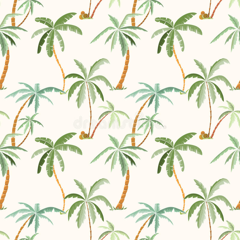 Seamless tropical palms pattern vector illustration