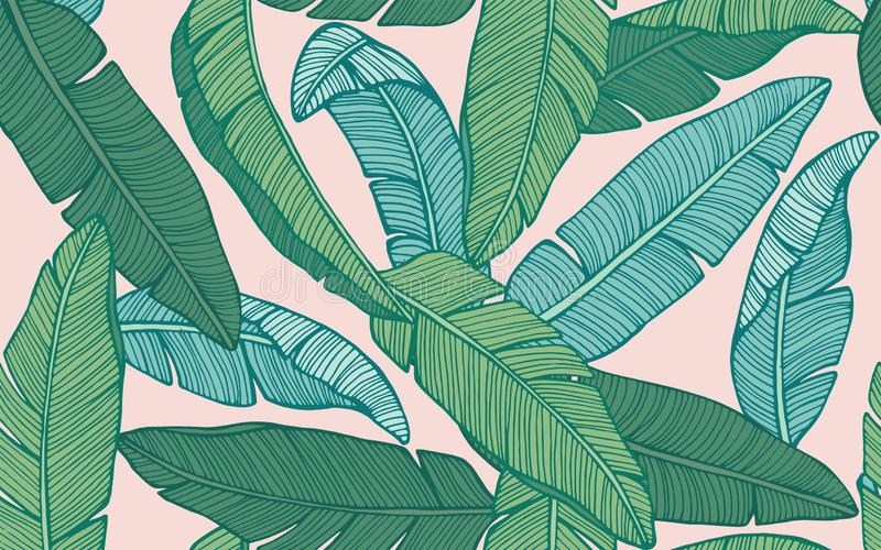 Seamless tropical pattern with banana leaves. Hand drawn vector vector illustration