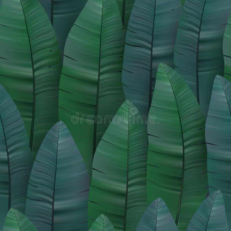 Seamless tropical pattern with banana leaves. Vector illustration. vector illustration