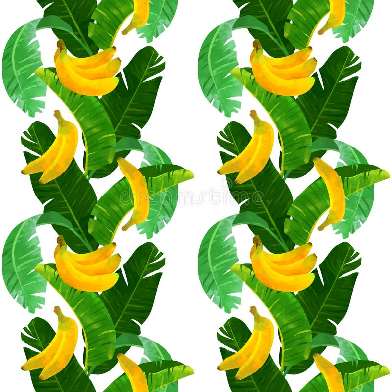 Seamless tropical pattern with bananas and babana leaves on white background. royalty free stock image