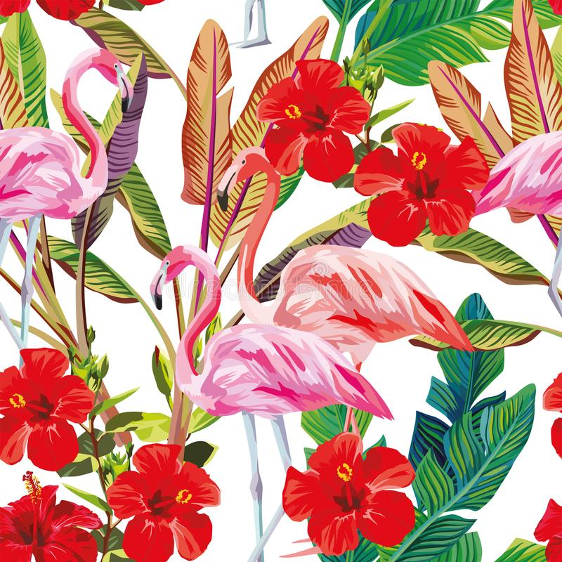 Seamless tropical pattern flamingo hibiscus plants vector illustration