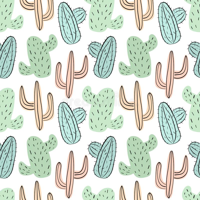 Seamless tropical pattern with green, blue and yellow cacti. Vector summer exotic illustration of a flamingo and a cactus for kids royalty free illustration