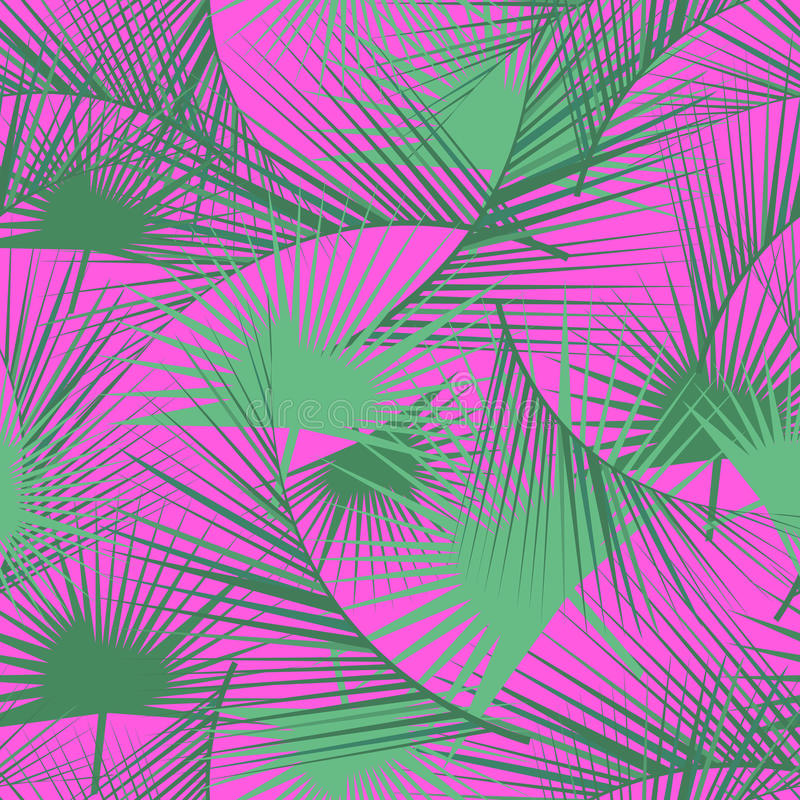 Seamless tropical pattern with green palm leaves. Jungle texture. Perfect for wallpapers, pattern fills, web page backgrounds. stock illustration