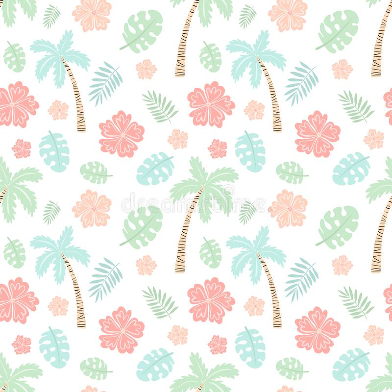 Seamless tropical pattern with palm, leaves, monstera, hibiscus. Vector summer illustration of a flamingo for kids, textiles,. Seamless tropical pattern with stock illustration