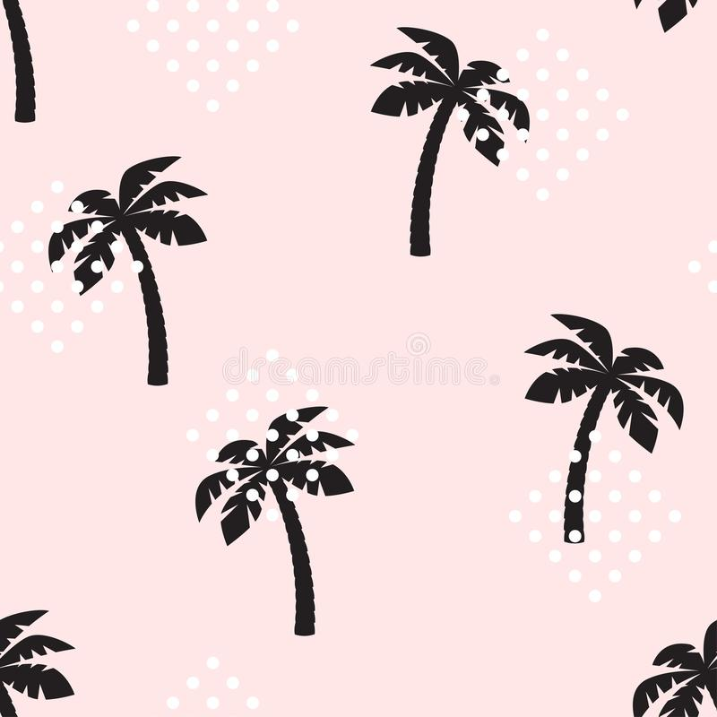 Palm tree pattern seamless texture. Seamless tropical pattern with palm trees. Vector illustration royalty free illustration