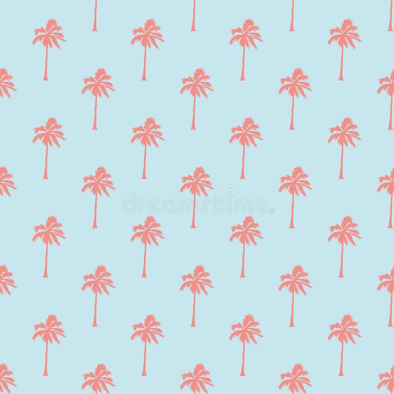 Seamless tropical pattern with palm trees. Vintage background. Forest, jungle. Abstract nature hand drawn background royalty free illustration
