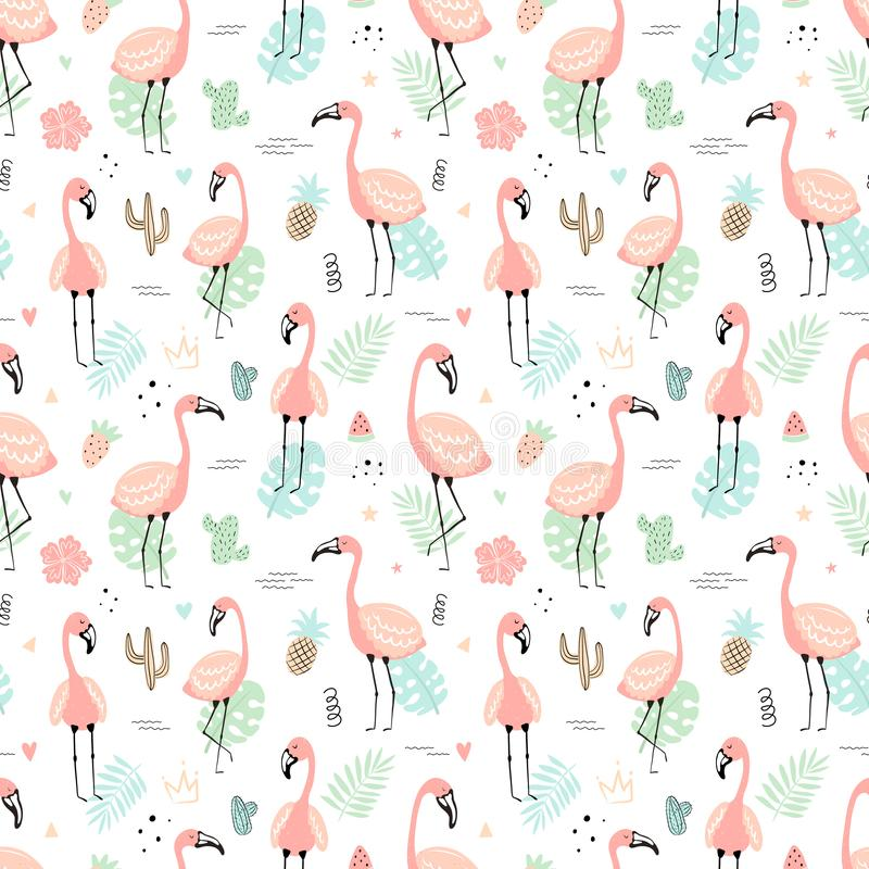 Seamless tropical pattern with pink flamingos and leaves, cacti, fruit, flowers. Vector summer hand-drawn illustration of a. Flamingo for kids, gifts, textiles stock illustration