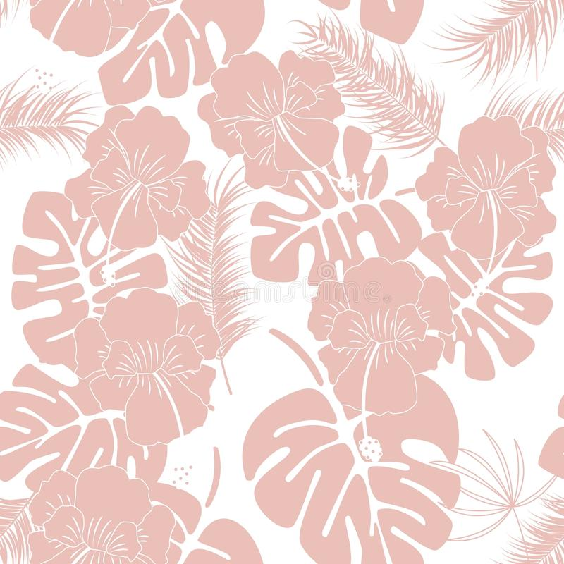 Seamless tropical pattern with pink monstera leaves and flowers on white background royalty free illustration