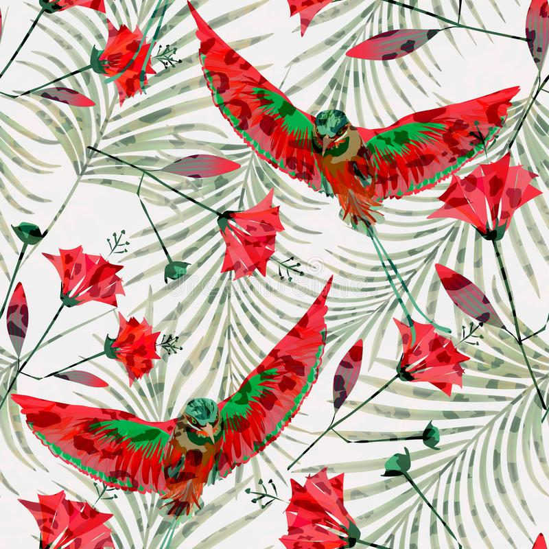 Seamless tropical pattern with red flowers and birds of Paradise. Colorful background vector illustration