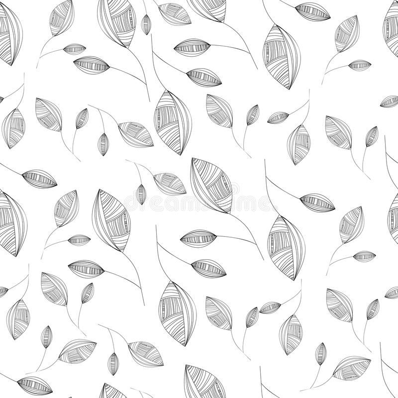 Seamless Tropical Pattern With Simple Leaves Stock
