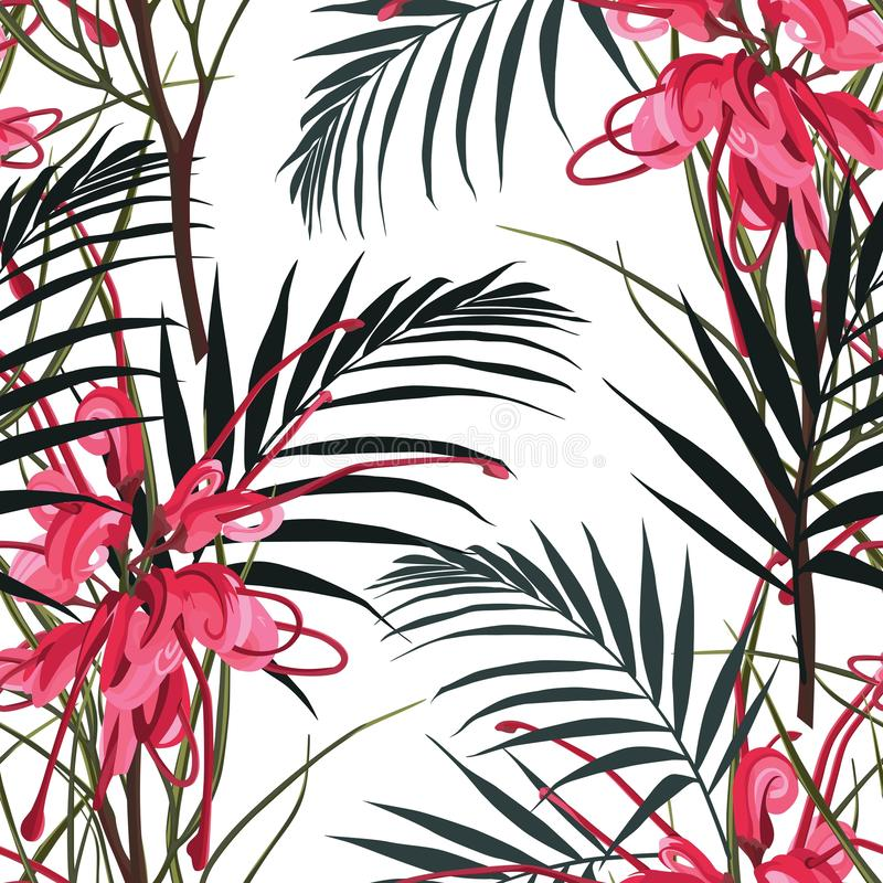 Seamless tropical red protea flower pattern background. Jungle leaves, on light background. Exotic print. Vintage motives. White background stock illustration