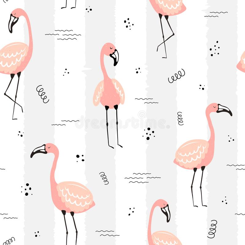 Seamless tropical striped pattern with flamingos, dots and waves. Vector summer illustration of a flamingo for kids, textiles, stock illustration