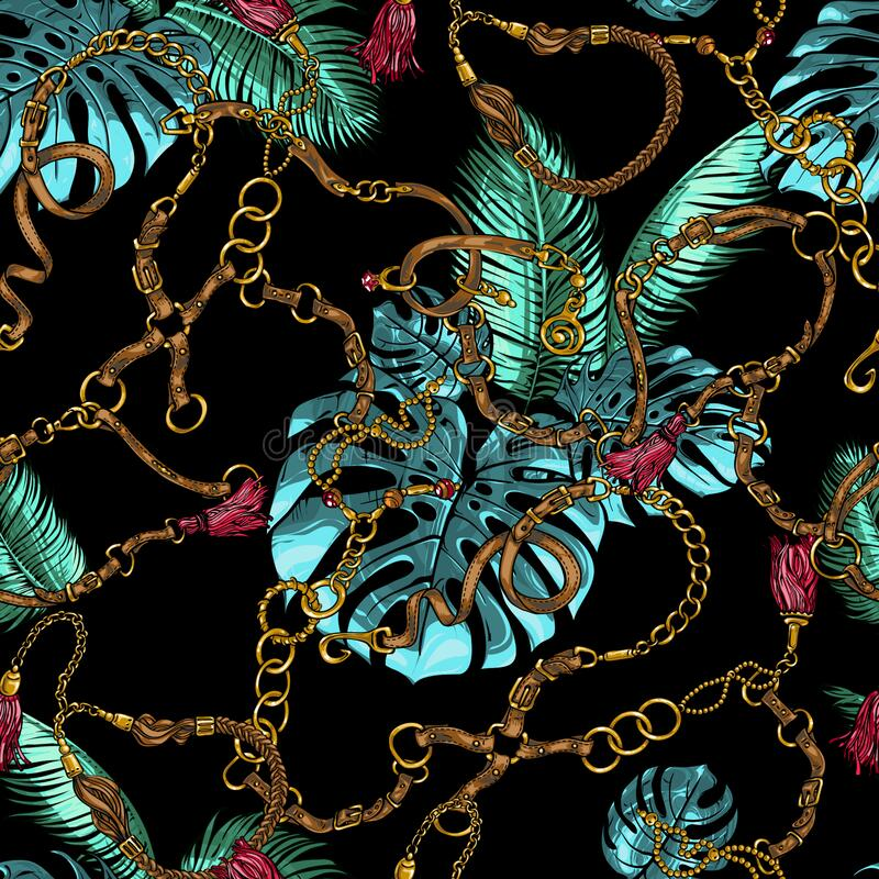 Free Seamless Tropical Texture From Chains, Jewelry, Metal Pendants With Tropical Leaves Monstera And Palm Trees Royalty Free Stock Image - 185696506