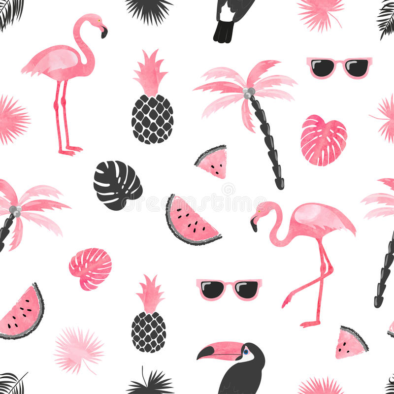 Seamless tropical trendy pattern with watercolor flamingo, watermelon slices and palm leaves. vector illustration