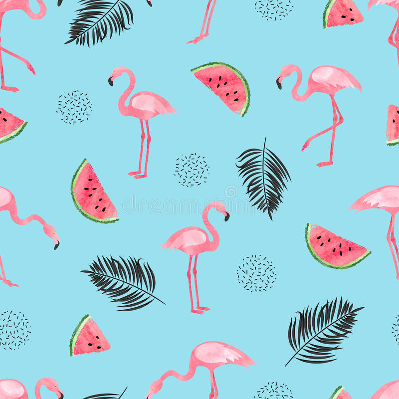 Seamless tropical trendy pattern with watercolor flamingos, watermelon and palm leaves on blue. vector illustration